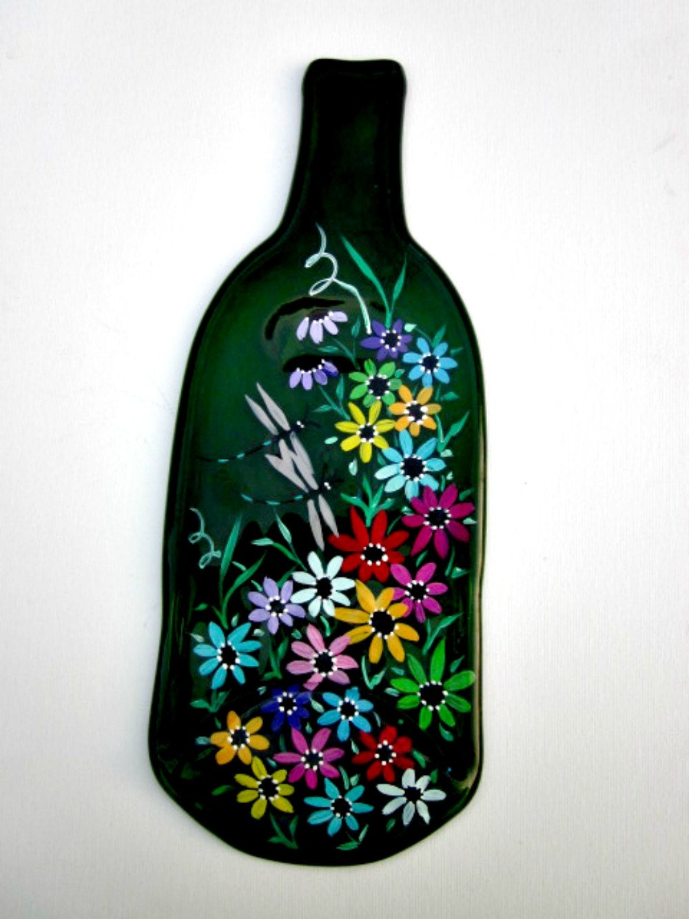 Melted wine bottle serving tray cheese tray spoon rest - How do you melt glass bottles ...
