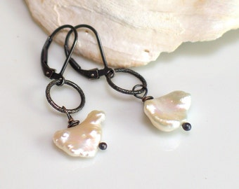 Keishi Pearl Drop Earrings, Simple Elegance, White Petal Pearls on Dark Oxidized Sterling, Everyday Earrings