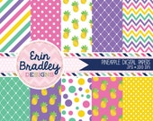 Pineapples Digital Scrapbook Paper Pack with Diamonds Pineapples Polka Dots and Chevron Patterns with Gold Foil Effect