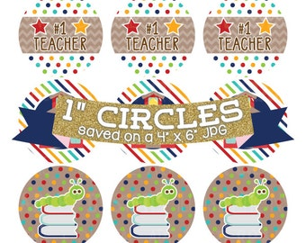School Digital Collage Sheet Bottlecap Images Instant Download Bottle Cap Graphics One Inch Circles 4x6 JPG School House Bookworm Apples