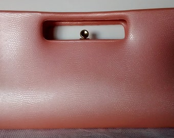 Pretty in Peach Vintage Sculptural Clutch Handbag