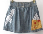 Upcycled Blue Chambray Skirt Embellished with Pocket and Lace size Medium
