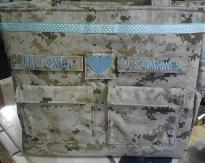 Marine diaper bag military camo diaper bag your choice words colors trims woodland or desert marine fabric custom personalized for you