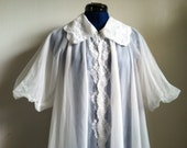 Vintage Vanity Fair ivory Negligee Gown with Rhinestone clasp Vintage Boudoir