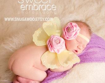Yellow wings W headband, Newborn butterfly wings, baby girl pictures, fairy wings,newborn girl, newborn photo prop, new baby girl, newborn