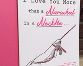 Letterpress Greeting Card - Narwhal in a Necktie (single) - Valentine's Day