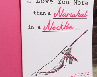 Valentines Day - Letterpress Greeting Card - Narwhal in a Necktie (single)
