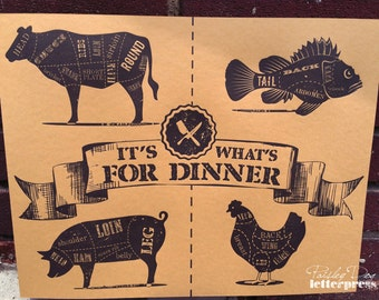 Letterpress Art Print – It's What's for Dinner / Chef / Foodie / Cook / Kitchen / BBQ / Grill / Holiday / Gift