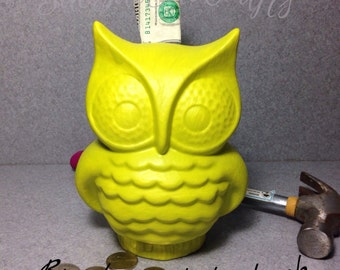 Ceramic Fat OWL Bank Chartreuse..........Break or Shake it ......Ready to ship