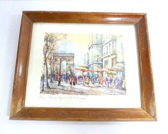 Vintage Paris Print - Champs Elysees et Arc de Triomphe, Framed   13 inches x 16 inches