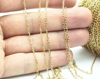 Solder Chain, Brass Chain, 90 M Spool - (1.5x3mm) Raw Brass Soldered Chain -bs 1069