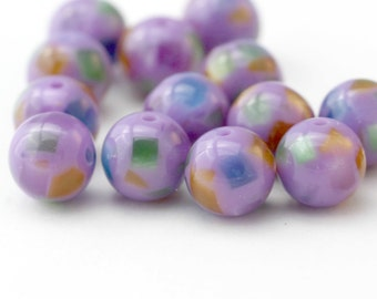 Purple Confetti Round Resin Acrylic Beads 12mm (16)