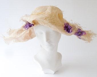 Kentucky Derby Straw Hat- Women's Straw Hat- Spring Fashion- Spring Accessories- Wide Brimmed Straw Hat- Couture Hat- Summer Hat- Handmade