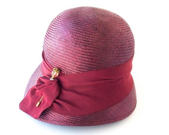 Straw Cloche Hat Women Spring Fashion 1920s Flapper Hat Burgundy Straw Hat Great Gatsby Cloche Hat 1930s Cloche Hat Downton Abbey Hat Church