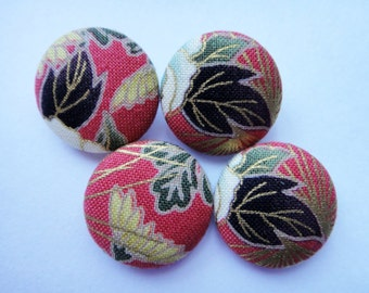 Beautiful Japanese Autumn Leaves & Flowers Red With Gold Accents Fabric Covered Buttons For Sewing - Set of 4 - 22mm