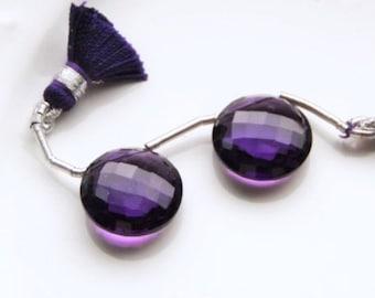 Purple Amethyst Faceted Coin Briolette Pair