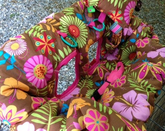 Shopping Cart cover, high chair cover, pink floral on brown and pink,  tropical flowers for girl READY TO SHIP