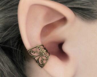 Soft Whispers - Brass Filigree Ear Cuff, Steampunk Jewelry, Fantasy Jewelry, Brass Earcuff, No Piercing, Cartilage Earring, Brass Ear Cuff