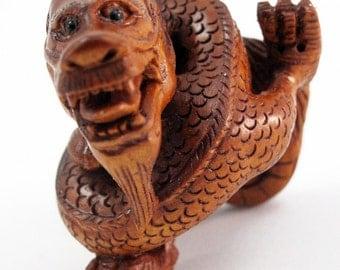 Yoga Dragon Hand-Carved Boxwood Netsuke Bead