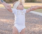 "Silver or Gold 1/2 Birthday Bodysuit CAKE SMASH OUTFIT Baby Girl 1/2 Birthday Photo Prop Photography 6 months Birthday ""1/2"" Bodysuit Half"