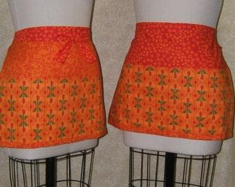 Tulips and Triangles Apron Half apron server waiter barista cotton flame orange vibrant red vivid colors 3 front pockets