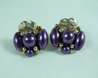 Vintage 1960s earrings royal purple plastic beads gold tone metal light weight clip backs clip ons