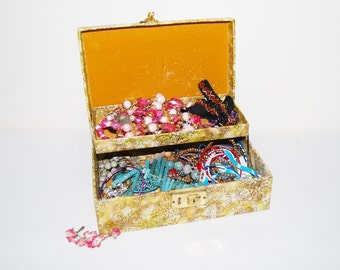 Jewelry Destash Bits and Baubles in Vintage Box