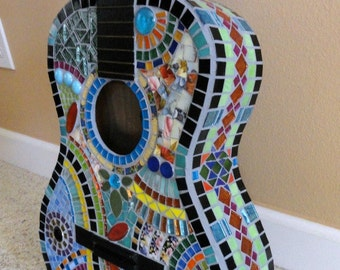 Custom Mosaic Guitar //Art//Mosaic Art//Home Decor//Wall Decor//Mixed Media Art//One of a Kind Art//Custom Mosaic