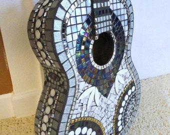 Custom Mosaic Guitar Silver Black White//Mosaics//Art//Home Decor//Wall Decor//Mixed Media Art//One of a Kind Art