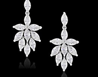 Vintage style crystal earrings bridal wedding 1930s 1940s Vintage style navette crystal leaf drop bridal earrings wedding jewellery