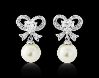 Bow Pearl earrings silver bow bridal wedding earrings vintage 1950s style crystal pearl drop wedding bridal earrings