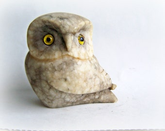 Vintage Owl Collectible Owl Figurine Single Stone Carved Owl Signed Sculpture Rock Owl with Glass Eyes , was 38.50 ON SALE