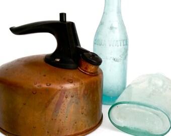 Rustic Antique Copper Teapot with Bakelite Handle