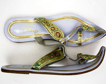 Size 7.5-8: Vintage 70s Ethnic Indian Handmade Leather Sandals Woman's