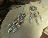 Native American Themed Dream Catcher long dangle earrings 1