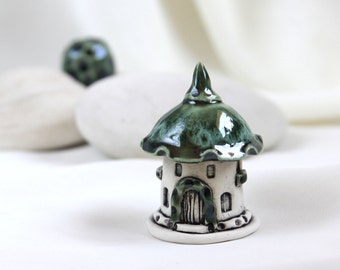 Meadow emerald green summer house of tiny fairies -- Hand Made Ceramic Eco-Friendly Home Decor by studio Vishnya