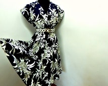 Vintage 70s Navy Blue Cotton Dress Full Skirt Floral Silhouette Cap Sleeve Summer Chic S Small