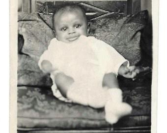 vintage Photo Little Black Baby African American Child 1946 Philadelphia