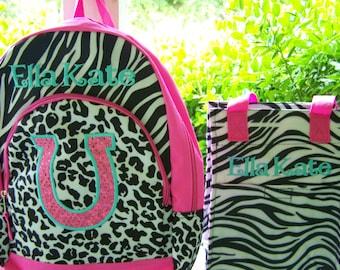 Personalized horseshoe backpack, and lunchbag. Girls backpack. Zebra backpack lunch kit. Hot pink and zebra print. School bag. insulated bag