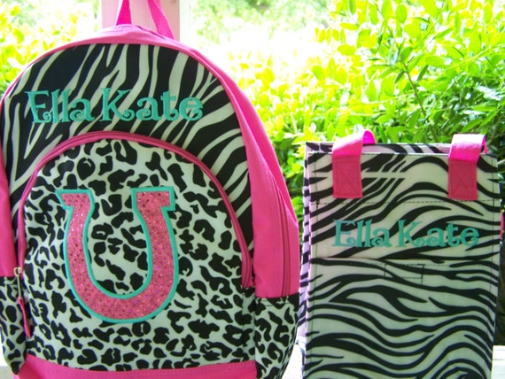 Personalized horseshoe backpack, and lunchbag. Girls backpack. Zebra backpack lunch kit. Hot pink and zebra print. School bag. insulated bag