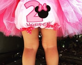 Custom Minnie Mouse Birthday Applique Bloomers with grosgrain ribbon bows