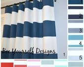 "Pair of Curtain Panels, Cabana Stripe Drapery, Horizontal, Premier Prints, Bee Yourself Designs - 25"" or 50"" wide - Choose color and length"