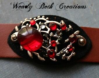 Ruby Red Bindi Style Steam Punk Leather Bracelet