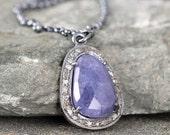 Tanzanite and Raw Diamond Necklace - Sterling Silver - Halo Pendant - Rustic Jewellery - December Birthstone