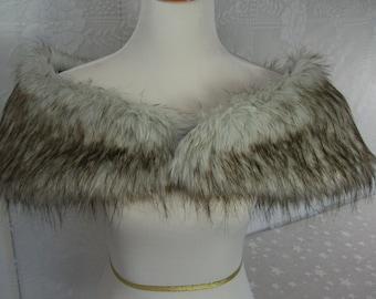 Faux Fur Shrug, Silver/Grey Wolf Faux Fur Shawl, Fur Stole, Wedding Shoulder Wrap