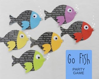 Kit GO FISH Birthday Party Game / Under the Sea Party / Arial Birthday Party / Mermaid Party / Sea Life Party /Camping Birthday Party