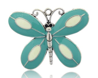 Teal - Enamel Butterfly - Sold Individually - #PND151