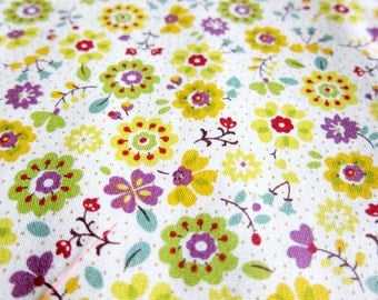 FREE SHIPPING Floral Cotton Fabric - Flower Wonderland Fabric in Yellow - (F040)Fat Quarter
