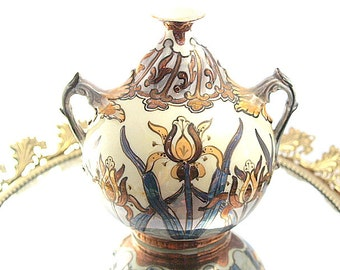 Czech Handpainted Vase Unique Iris European Hand Painted Urn