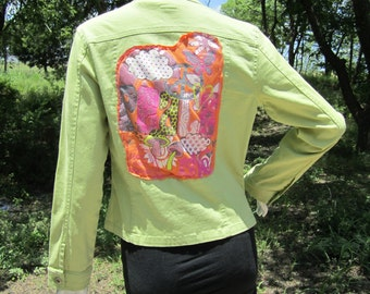 Upcycled peace, love, and happiness blazer with hemp stitching